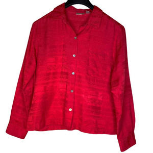 CHICO'S Red Silk Cotton Blend Button Up Blouse M